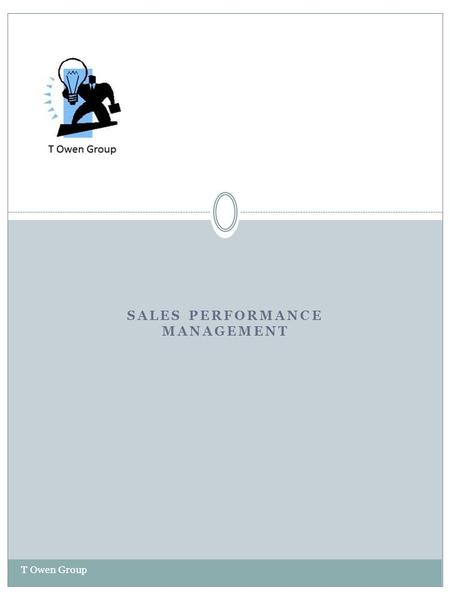 SALES PERFORMANCE MANAGEMENT T Owen Group. Sales Performance Management T Owen Group The T Owen Group Consultants work with Sales Leaders, HR Business.