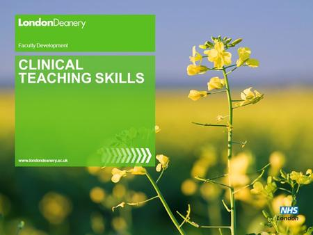 Www.londondeanery.ac.uk Faculty Development CLINICAL TEACHING SKILLS.