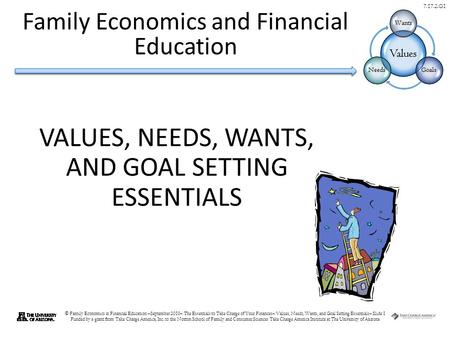 © Family Economics & Financial Education –September 2010– The Essentials to Take Charge of Your Finances– Values, Needs, Wants, and Goal Setting Essentials–