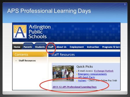 APS Professional Learning Days 1. Where do I find the information about the day? 2.