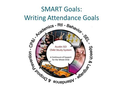 SMART Goals: Writing Attendance Goals. Learning Outcomes Learners will: Create specific, measurable goals related to attendance Understand the process.