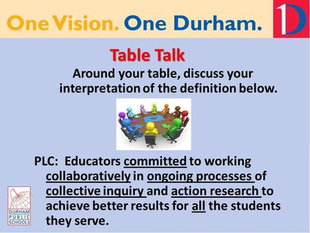 Table Talk Around your table, discuss your interpretation of the definition below. PLC: Educators committed to working collaboratively in ongoing processes.