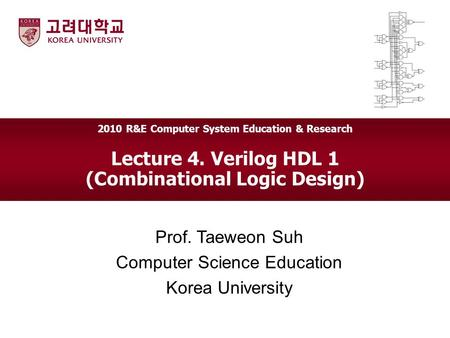 Lecture 4. Verilog HDL 1 (Combinational Logic Design) Prof. Taeweon Suh Computer Science Education Korea University 2010 R&E Computer System Education.