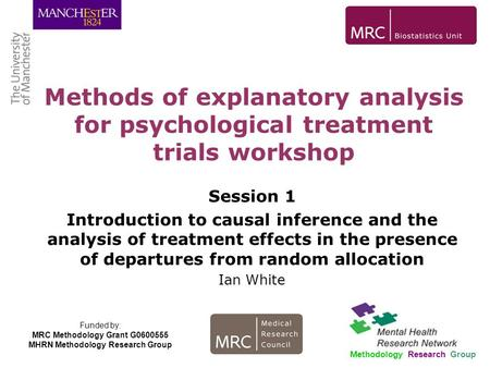 Session 1 Introduction to causal inference and the analysis of treatment effects in the presence of departures from random allocation Ian White Methods.