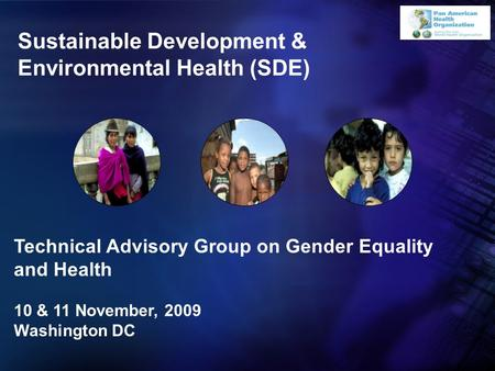 Sustainable Development & Environmental Health (SDE) Technical Advisory Group on Gender Equality and Health 10 & 11 November, 2009 Washington DC.