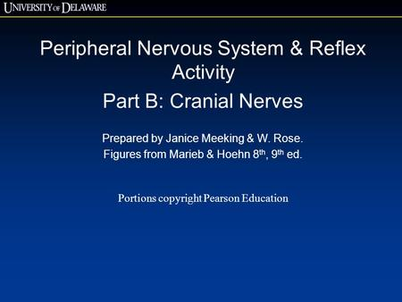 Peripheral Nervous System & Reflex Activity Part B: Cranial Nerves Prepared by Janice Meeking & W. Rose. Figures from Marieb & Hoehn 8 th, 9 th ed. Portions.