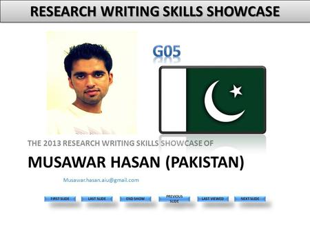MUSAWAR HASAN (PAKISTAN) THE 2013 RESEARCH WRITING SKILLS SHOWCASE OF Please replace this with your photo. The face size should be about the same as the.