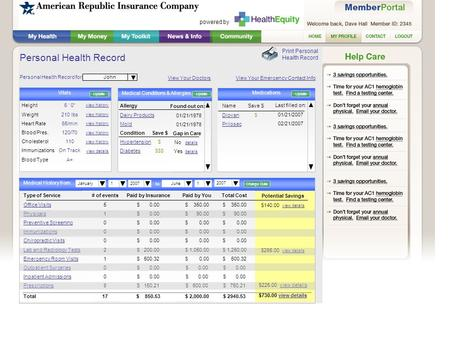 Personal Health Record Alerts Print Personal Health Record Personal Health Record for: Vitals view history view details John Type of Service Office Visits.