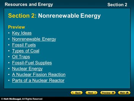 Section 2: Nonrenewable Energy
