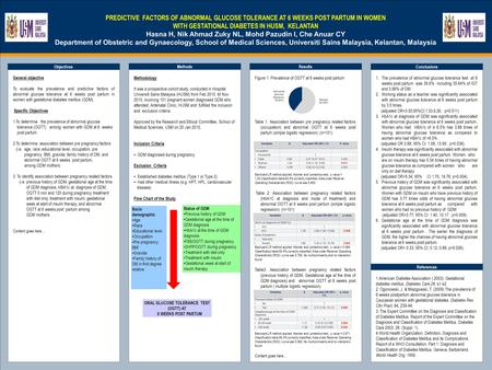 TEMPLATE DESIGN © 2008 www.PosterPresentations.com PREDICTIVE FACTORS OF ABNORMAL GLUCOSE TOLERANCE AT 6 WEEKS POST PARTUM IN WOMEN WITH GESTATIONAL DIABETES.