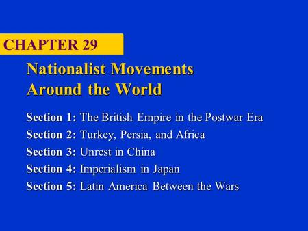 Nationalist Movements Around the World Section 1:The British Empire in the Postwar Era Section 2:Turkey, Persia, and Africa Section 3:Unrest in China Section.