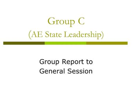 Group C ( AE State Leadership) Group Report to General Session.
