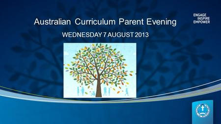 Australian Curriculum Parent Evening WEDNESDAY 7 AUGUST 2013.