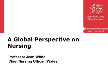 Corporate slide master With guidelines for corporate presentations A Global Perspective on Nursing Professor Jean White Chief Nursing Officer (Wales)