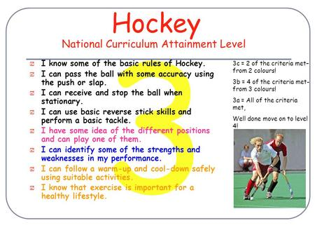 3 Hockey  I know some of the basic rules of Hockey.  I can pass the ball with some accuracy using the push or slap.  I can receive and stop the ball.
