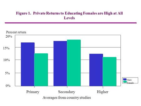 Figure 1. Private Returns to Educating Females are High at All Levels Percent return 20% 15% 10% 5% 0% Primary SecondaryHigher Averages from country studies.
