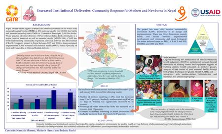 Increased Institutional Deliveries: Community Response for Mothers and Newborns in Nepal Contacts: Nirmala Sharma, Mukesh Hamal and Induka Karki Nepal.