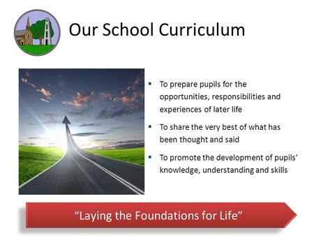 Our School Curriculum  To prepare pupils for the opportunities, responsibilities and experiences of later life  To share the very best of what has been.