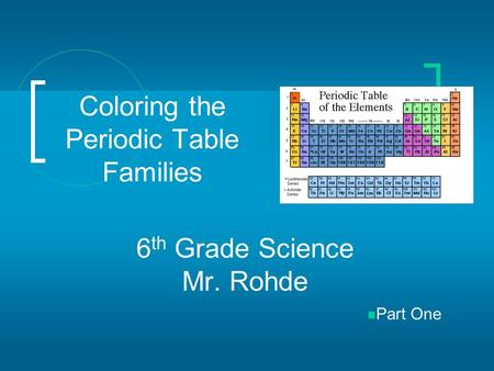 Coloring the Periodic Table Families 6 th Grade Science Mr. Rohde Part One.