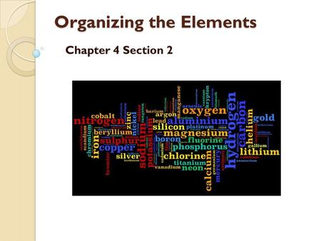 Organizing the Elements Organizing the Elements Chapter 4 Section 2.