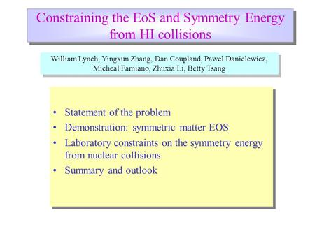 Constraining the EoS and Symmetry Energy from HI collisions Statement of the problem Demonstration: symmetric matter EOS Laboratory constraints on the.