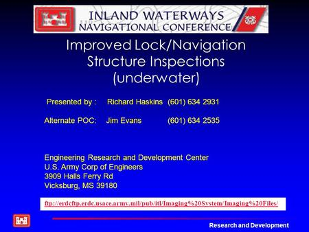 Improved Lock/Navigation Structure Inspections (underwater)