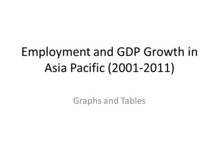 Employment and GDP Growth in Asia Pacific (2001-2011) Graphs and Tables.