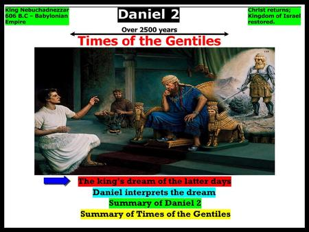 Daniel 2:29 tells us that while King Nebuchchadnezzar was resting on his bed, thoughts went through his head wanting to know what would become of his.