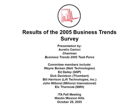 Results of the 2005 Business Trends Survey Presentation by: Aurelio Carinci Chairman Business Trends 2005 Task Force Committee members include: Wayne Borean.