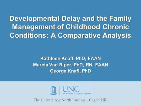 Developmental Delay and the Family Management of Childhood Chronic Conditions: A Comparative Analysis Kathleen Knafl, PhD, FAAN Marcia Van Riper, PhD,