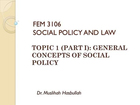 FEM 3106 SOCIAL POLICY AND LAW