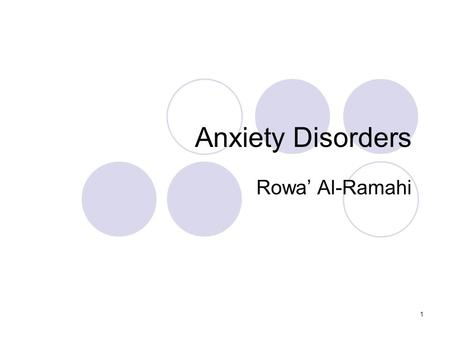 1 Anxiety Disorders Rowa' Al-Ramahi. 2 CLINICAL PRESENTATION GENERALIZED ANXIETY DISORDER The diagnostic criteria require persistent symptoms most days.
