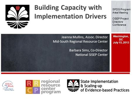Building Capacity with Implementation Drivers