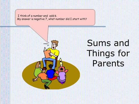 I think of a number and add 6. My answer is negative 7, what number did I start with? Sums and Things for Parents.