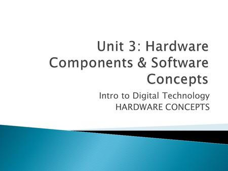 Intro to Digital Technology HARDWARE CONCEPTS. IT-IDT-4 Identify, describe, evaluate, select, and use appropriate technology. IT-IDT-5 Understand, communicate,