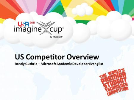 US Competitor Overview Randy Guthrie – Microsoft Academic Developer Evanglist.
