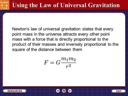 Newton's law of universal gravitation states that every point mass in the universe attracts every other point mass with a force that is directly proportional.