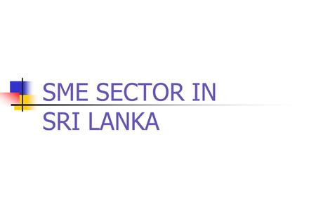 SME SECTOR IN SRI LANKA. Definitions of SME's Total Assets Value Excluding Land & Building less than Rs. 01 Mn- Micro Industries Total Assets Value Excluding.