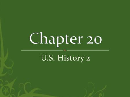U.S. History 2. 20.1 A Clash of Values 20.2 Cultural Innovations 20.3 African American Culture.
