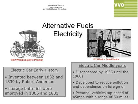 Alternative Fuels Electricity Electric Car Early History Invented between 1832 and 1839 by Robert Anderson storage batteries were improved in 1865 and.