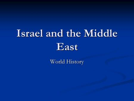 Israel and the Middle East World History. Where is the Middle East? The Middle East is a region just to the East of Africa and to the South East of Europe.