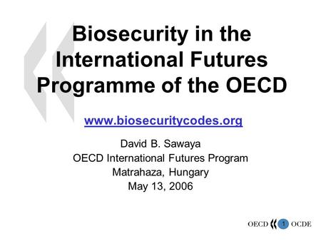 1 Biosecurity in the International Futures Programme of the OECD www.biosecuritycodes.org David B. Sawaya OECD International Futures Program Matrahaza,