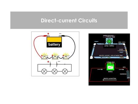 Direct-current Circuits. Direct Current Circuits 2 Now look at systems with multiple resistors, which are placed in series, parallel or in series and.