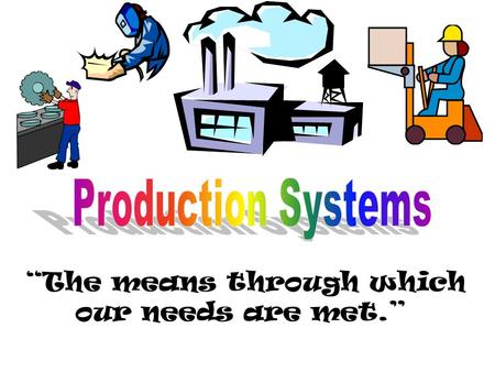"""The means through which our needs are met."". I. Two Types of Production Systems a. Manufacturing: making goods in a workshop or factory. b. Construction:"