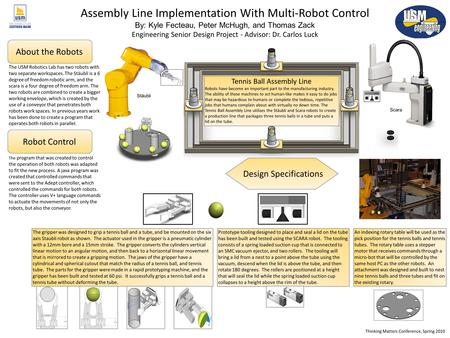 Tennis Ball Assembly Line Robots have become an important part to the manufacturing industry. The ability of these machines to act human-like makes it.