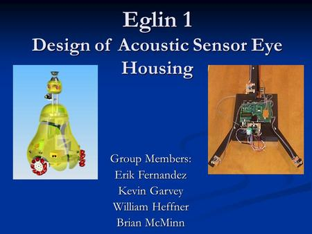 Eglin 1 Design of Acoustic Sensor Eye Housing Eglin 1 Design of Acoustic Sensor Eye Housing Group Members: Erik Fernandez Kevin Garvey William Heffner.