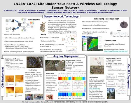 IN23A-1072: Life Under Your Feet: A Wireless Soil Ecology Sensor Network K. Szlavecz 1, A. Terzis 1, R. Musaloiu 1, A. Szalay 1, J. Gupchup 1, C.-J. Liang.