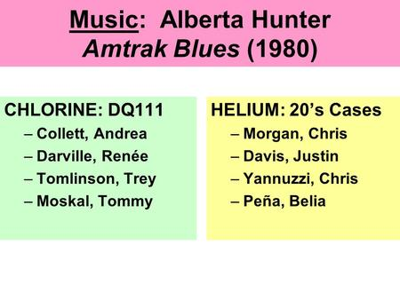 Music: Alberta Hunter Amtrak Blues (1980) CHLORINE: DQ111 –Collett, Andrea –Darville, Renée –Tomlinson, Trey –Moskal, Tommy HELIUM: 20's Cases –Morgan,