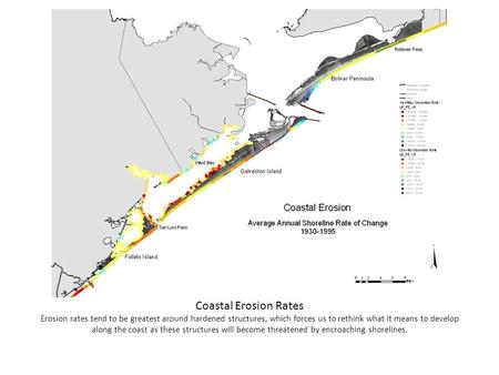Coastal Erosion Rates Erosion rates tend to be greatest around hardened structures, which forces us to rethink what it means to develop along the coast.
