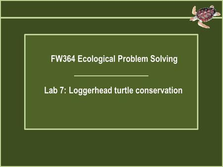 FW364 Ecological Problem Solving Lab 7: Loggerhead turtle conservation.
